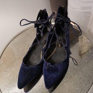 Topshop blue velvet lace up flats